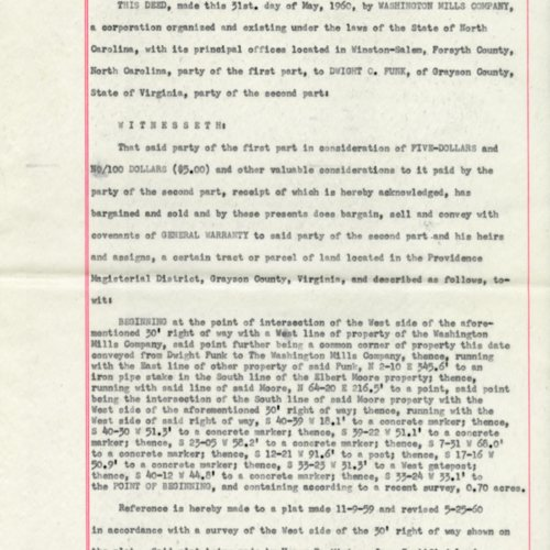 Deed for land between Washington Mills Company and Dwight C. Funk, 1960 (Ms1989-039)