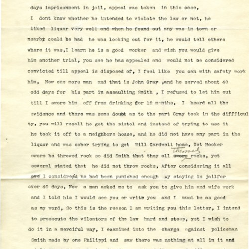 A Letter Inquiring About Jobs for Formerly Jailed People, 1905 (Ms 1989-039)
