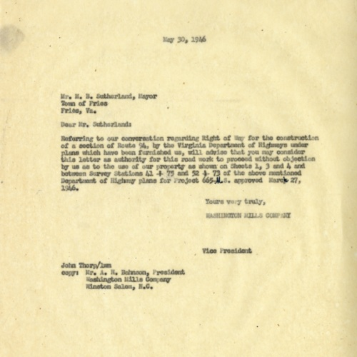 Letter About Land for Road Improvements, 1946 (Ms1989-039)