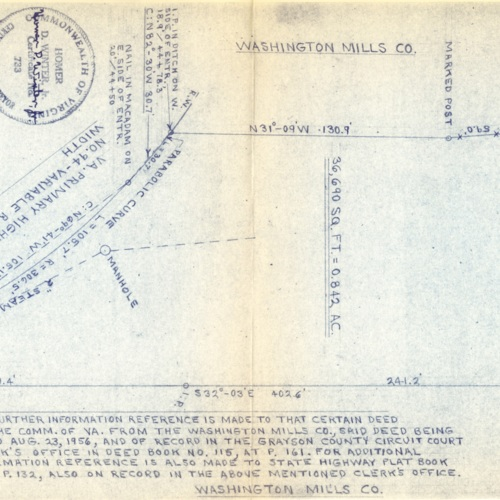 Plat of Parcel of Washington Mills Company Property Being Conveyed to James E. Robinson, Jr., 1973 (Ms 1989-039)