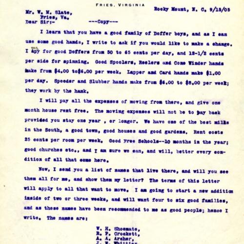 Letter Offering Jobs (Ms1989-039)