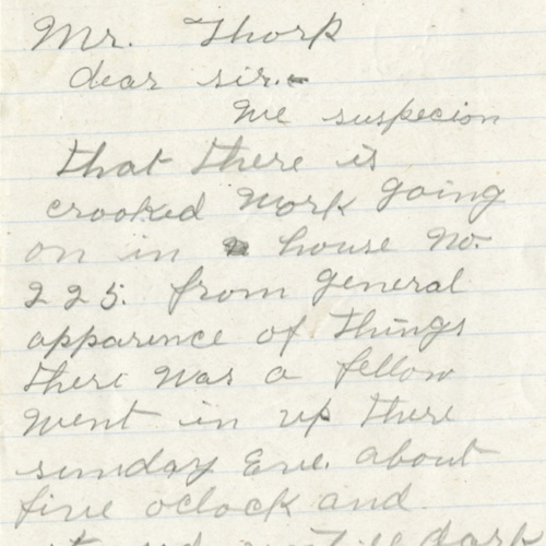 Letter From a Nosy Neighbor, 1921 (Ms1989-039)