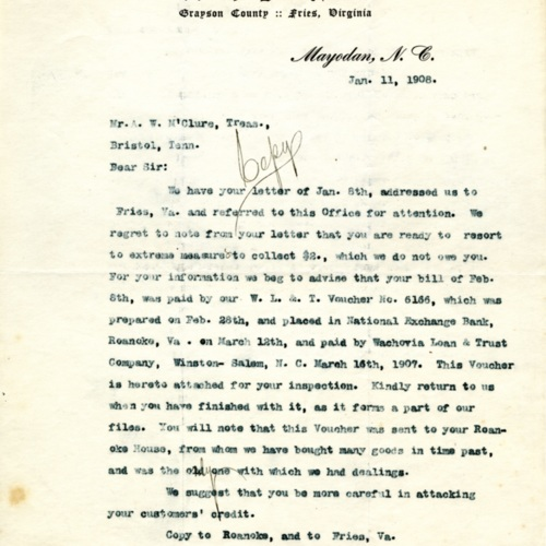 A Response to a Debt Collection Letter, 1908 (Ms1989-039)