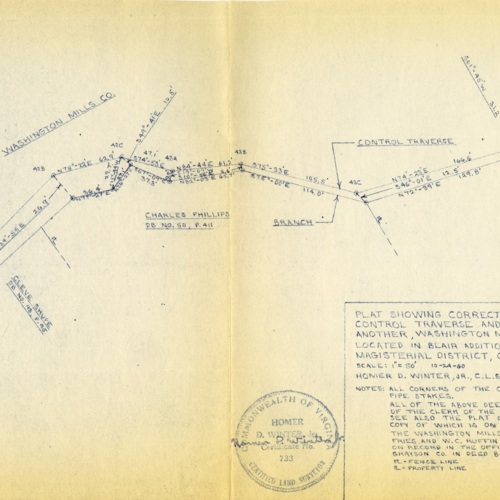 Plat Showing Corrected Calls of Branch and Calls of Control Traverse and Their Relationship to One Another, 1960 (Ms1989-039)