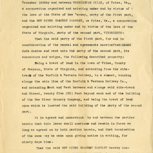Grocery Store Lease, 1905 (Ms1989-039)