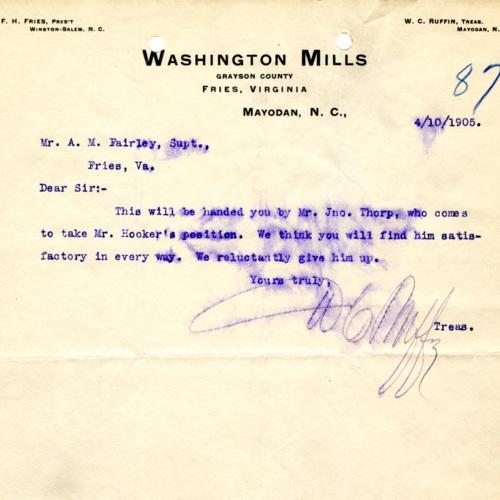 Notice of Employee Transfer, 1905 (Ms1989-039)