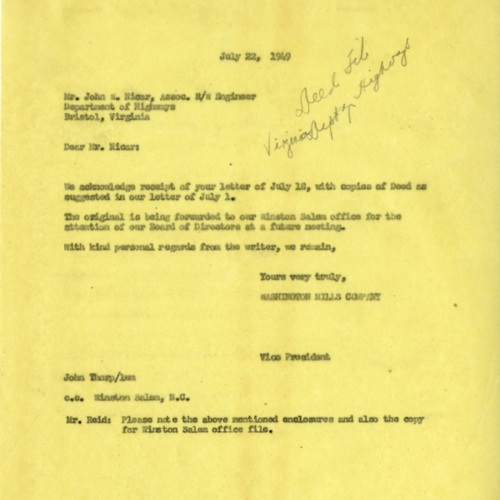 Letter About Land for Road Improvements, 1949 (Ms1989-039)