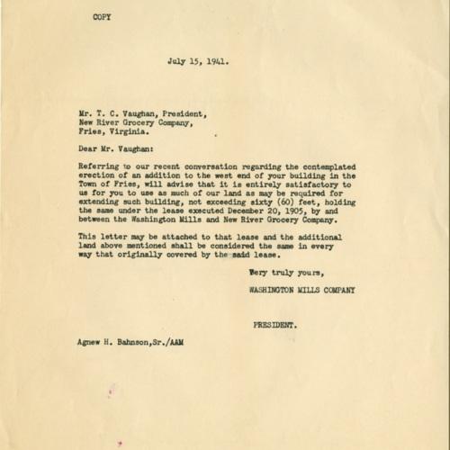Letter to Expand the Grocery Store, 1941 (Ms1989-039)