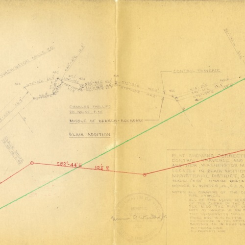 Revised Plat Showing Corrected Calls of Branch and Calls of Control Traverse and Their Relationship to One Another, 1966 (Ms1989-039)