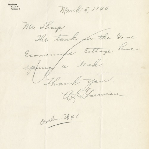 Letter to Mr. Sharp about Home Economics Cottage, 1940 (Ms1989-039)