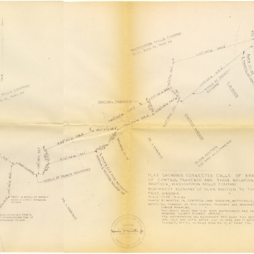 Plat Showing Corrected Calls of Branch and Calls of Control Traverse and Their Relationship to One Another, 1966 (Ms1989-039)