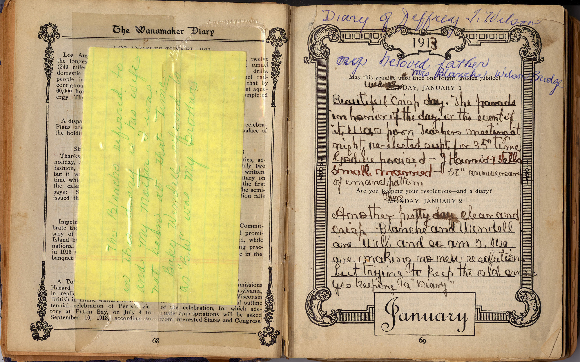 Jeffrey Wilson Diary 1913