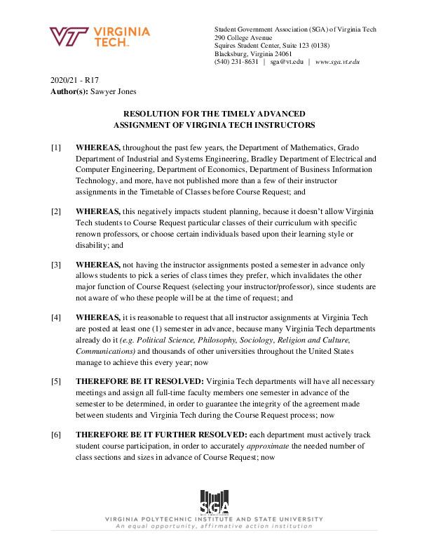 R17_ResolutionfortheTimelyAdvancedAssignmentofVirginiaTechInstructors.pdf